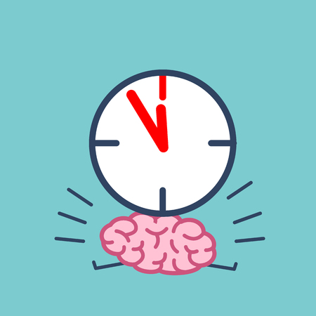 weighted: Brain in time pressure. Vector concept illustration of brain burdened with clocks   flat design linear infographic icon on violet background