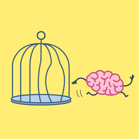 Brain escaping out of the bird cage. Vector concept illustration of enlightenment mind running out of the prison | flat design linear infographic icon on yellow background Illustration