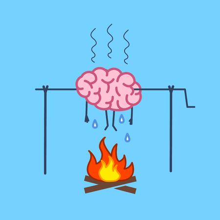Overwerkte hersenen in brand. Vectorconceptenillustratie van de barbecue van burnouthersenen op vleespen | plat ontwerp lineaire infographic pictogram op blauwe achtergrond
