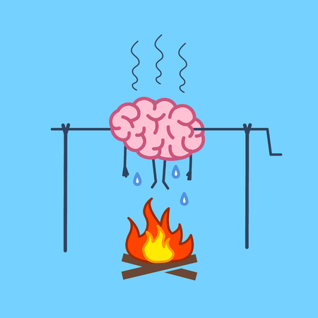 Overworked brain on fire. Vector concept illustration of burnout brain barbecue on skewer | flat design linear infographic icon on blue background