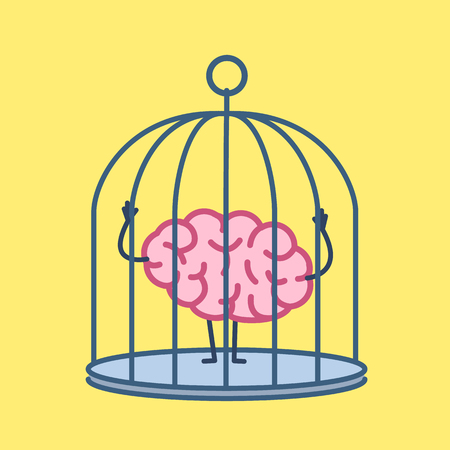 Brain locked in cage. Vector concept illustration of captive and imprisoned mind | flat design linear infographic icon on yellow background Illustration