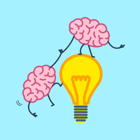 Brain cooperation and teamwork. Vector concept illustration brain helps to climb on idea bulb | flat design linear infographic icon on blue background