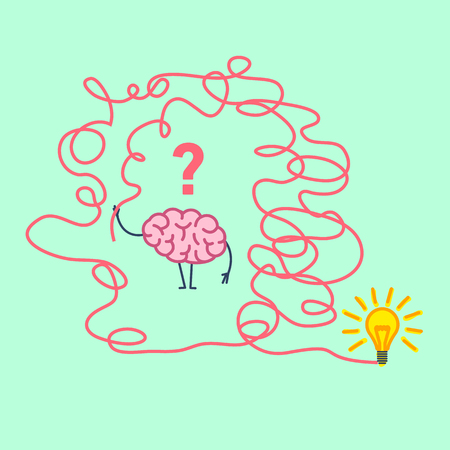 personality: Confused brain. Vector concept illustration of brain finding solution in maze to new idea | flat design linear infographic icon on green background Illustration
