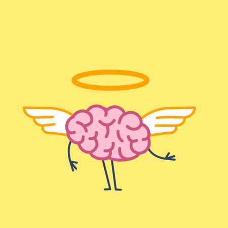 Angel Brain. Vector concept illustration of divine brain with wings and golden halo | flat design linear infographic icon on yellow background
