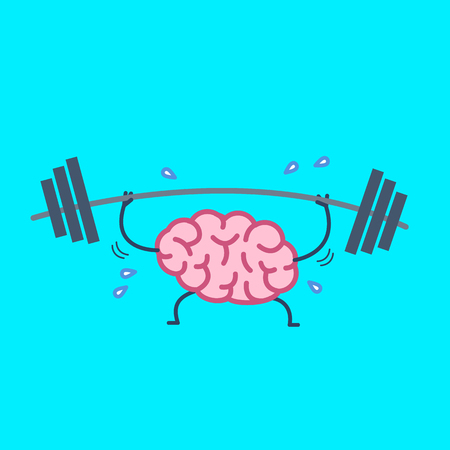 Brain workout. Vector concept illustration of hard working sweating brain with barbell in gym | flat design linear infographic icon on blue background