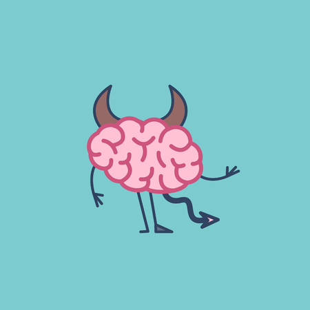 Insidious brain. Vector concept illustration of hells devil brain with corners, tail and hoof | flat design linear infographic icon on green background
