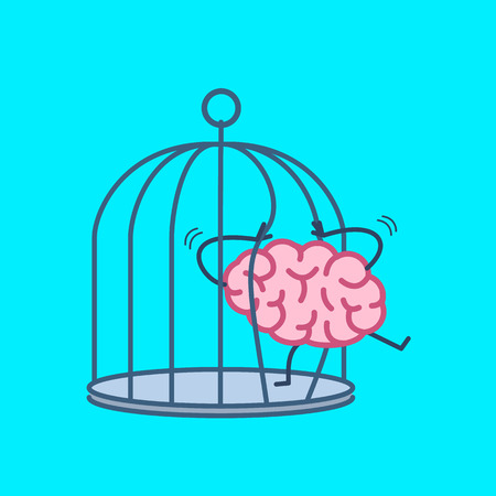 imprisoned person: Brain trying open the grids to escape from cage. Vector concept illustration of free mind escaping out of the prison | flat design linear infographic icon on blue background