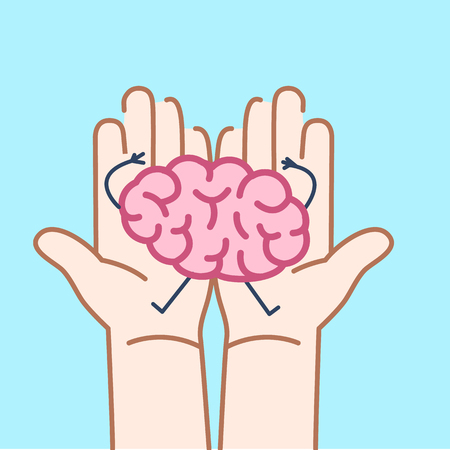 Carefully holding brain in two hands. Vector concept illustration of taking care about brain | flat design linear infographic icon on v blue background