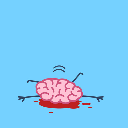 The brain has committed suicide by jump. Vector concept illustration of the hopeless brain under pressure and depression | flat design linear infographic icon on blue background