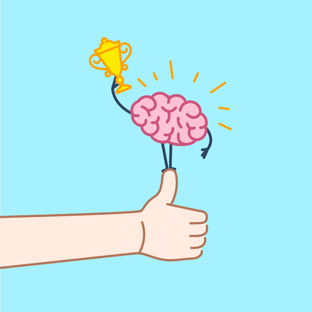 business graphics: Brain champion. Vector concept illustration of best brain with golden goblet standing on thumb up | flat design linear infographic icon on blue background Illustration