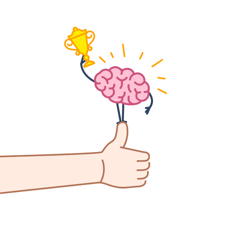 Brain champion. Vector concept illustration of best brain with golden goblet standing on thumb up | flat design linear infographic icon colorful on white background