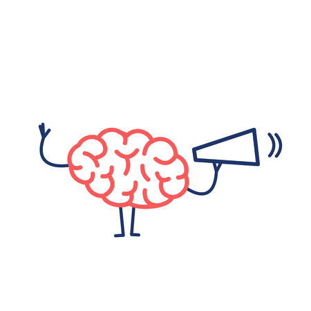 Brain with megaphone. Vector concept illustration brain communication | flat design linear infographic icon red and blue on white background