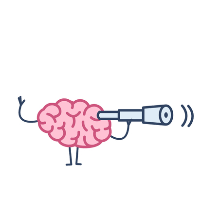 Brain with telescope. Vector concept illustration searching brain | flat design linear infographic icon colorful on white background Çizim