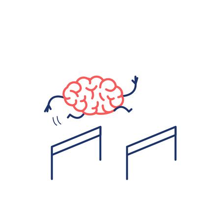 브레인 허들러. 장애물을 뛰어 넘는 두뇌의 벡터 개념 일러스트 레이션   플랫 디자인 선형 infographic 아이콘 빨강과 흰색 배경에 파란색 일러스트
