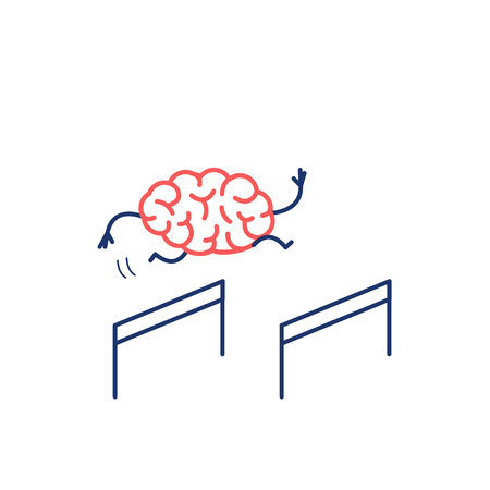 Brain hurdler. Vector concept illustration of brain jumping over the obstacles | flat design linear infographic icon red and blue on white background
