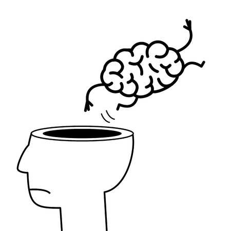 give out: Brain jumping out of the head. Vector concept illustration of overworked mind | flat design linear infographic icon black on white background