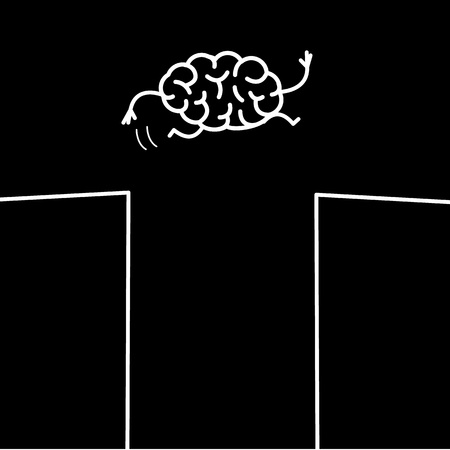 Courage. Vector concept illustration of brain jumping across the gap | flat design linear infographic icon white on black background