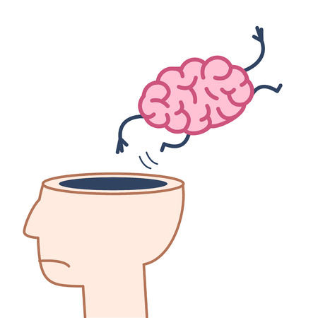 give out: Brain jumping out of the head. Vector concept illustration of overworked mind | flat design linear infographic icon colorful on white background Illustration