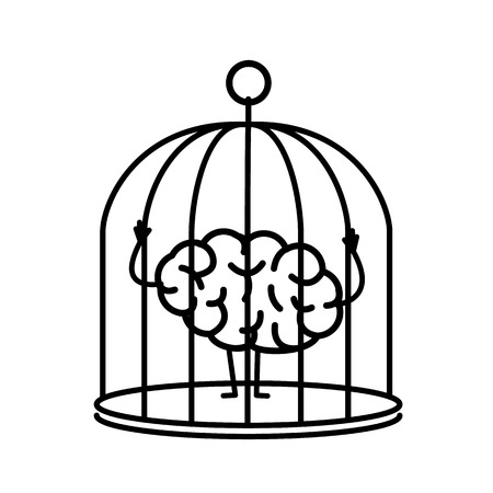 Brain locked in cage. Vector concept illustration of captive and imprisoned mind | flat design linear infographic icon black on white background.
