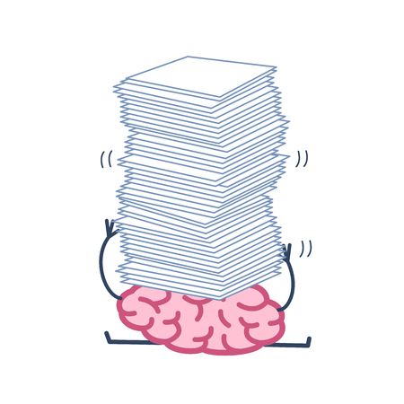 Overworked brain under pressure. Vector concept illustration of brain overwhelmed heap of papers | flat design linear infographic icon colorful on white background