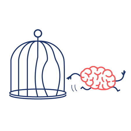Brain escaping out of the bird cage. Vector concept illustration of enlightenment mind running out of the prison | flat design linear infographic icon red and blue on white background