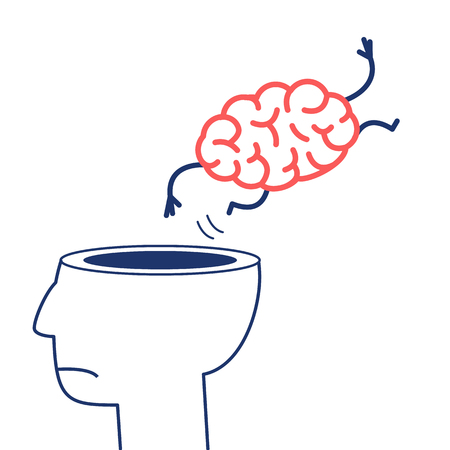 Brain jumping out of the head. Vector concept illustration of overworked mind | flat design linear infographic icon red and blue on white background