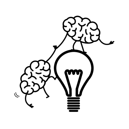 Brain cooperation and teamwork. Vector concept illustration brain helps to climb on idea bulb | flat design linear infographic icon black on white background