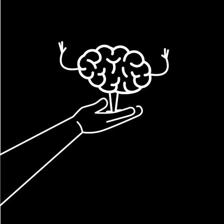 Support of Raising brain. Vector concept illustration of careful hand lifting up happy growing brain | flat design linear infographic icon white on black background