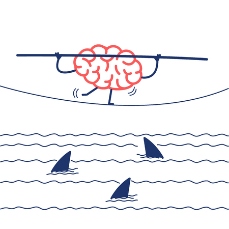 challenge and courage - conceptual vector illustration of brain balancing on rope over the water with sharks | flat design linear infographic icon red and blue on white background Illustration