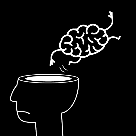 give out: Brain jumping out of the head. Vector concept illustration of overworked mind | flat design linear infographic icon white on black background