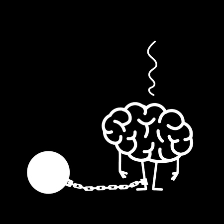 Brain with iron prison ball on chain on feet. Vector concept illustration of restricted and blocked brain | flat design linear infographic icon white on black background Illustration