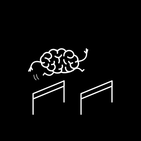 Brain hurdler. Vector concept illustration of brain jumping over the obstacles | flat design linear infographic icon white on black background