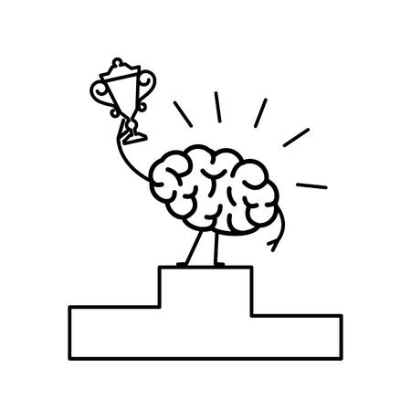 두뇌 우승자. 승자 플랫폼에 골든 잔을 가진 최고의 뇌 챔피언의 벡터 개념 일러스트 레이션   플랫 디자인 흰색 배경에 선형 infographic 아이콘 검정