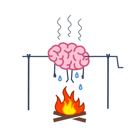 spit: Overworked brain on fire. Vector concept illustration of burnout brain barbecue on skewer | flat design linear infographic icon colorful on white background.