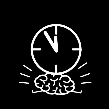 weighted: Brain in time pressure. Vector concept illustration of brain burdened with clocks   flat design linear infographic icon white on black background Illustration