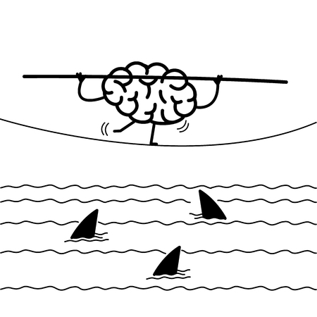 Challenge and courage - conceptual vector illustration of brain balancing on rope over the water with sharks | flat design linear infographic icon black on white background. Illustration