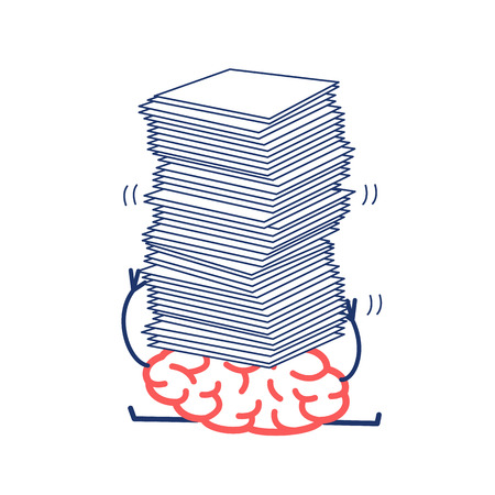 overwhelmed: Overworked brain under pressure. Vector concept illustration of brain overwhelmed heap of papers | flat design linear infographic icon red and blue on white background.