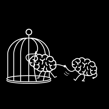 Brain helping other to escape from cage. Vector concept illustration of support escaping imprisoned mind  | flat design linear infographic icon white on black background