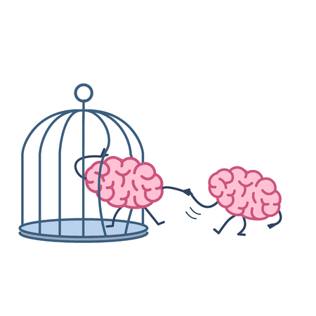 imprisoned person: Brain helping other to escape from cage. Vector concept illustration of support escaping imprisoned mind  | flat design linear infographic icon colorful on white background