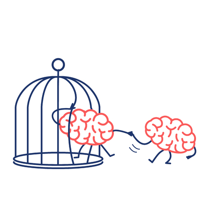 Brain helping other to escape from cage. Vector concept illustration of support escaping imprisoned mind  | flat design linear infographic icon red and blue on white background