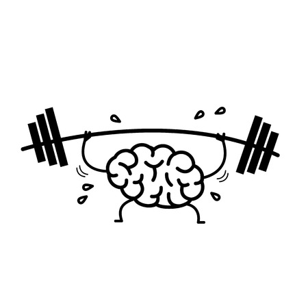 Brain workout. Vector concept illustration of hard working sweating brain with barbell in gym | flat design linear infographic icon black on white background Vettoriali