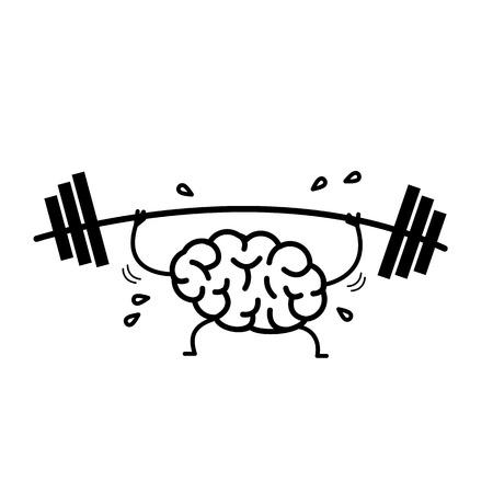 Entrenamiento mental Ilustración del concepto de vector de trabajo duro cerebro sudoroso con barra en el gimnasio | icono de infografía lineal de diseño plano negro sobre fondo blanco Ilustración de vector