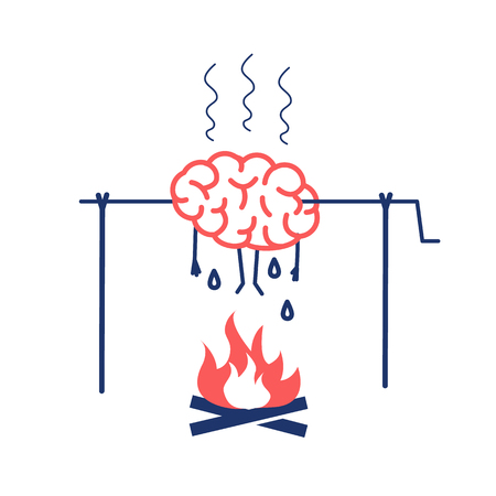 Overworked brain on fire. Vector concept illustration of burnout brain barbecue on skewer | flat design linear infographic icon red and blue on white background.