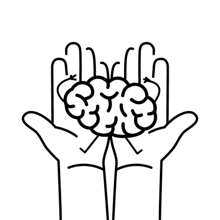 Carefully holding brain in two hands. Vector concept illustration of taking care about brain | flat design linear infographic icon black on white background