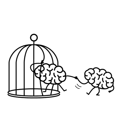 escaping: Brain helping other to escape from cage. Vector concept illustration of support escaping imprisoned mind  | flat design linear infographic icon black on white background