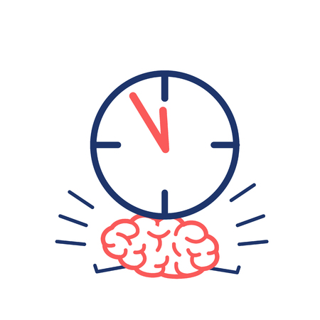 weighted: Brain in time pressure. Vector concept illustration of brain burdened with clocks   flat design linear infographic icon red and blue on white background