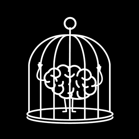 Brain locked in cage. Vector concept illustration of captive and imprisoned mind | flat design linear infographic icon white on black background