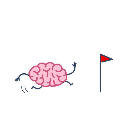 Brain running to goal marked with flag. Vector concept illustration of brain on the way to target | flat design linear infographic icon colorful on white background