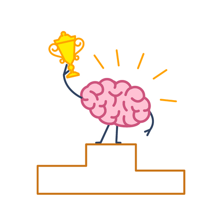 Brain winner. Vector concept illustration of best brain champion with golden goblet on winners platform | flat design linear infographic icon colorful on white background