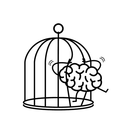 Brain trying open the grids to escape from cage. Vector concept illustration of free mind escaping out of the prison   flat design linear infographic icon black on white background